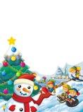 Happy cartoon christmas scene with happy kids and christmas tree Stock Photo