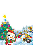 Happy cartoon christmas scene with happy kids and christmas tree Stock Photography