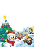 Happy cartoon christmas scene with happy kids and christmas tree Stock Photos