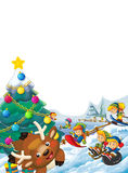 Happy cartoon christmas scene with happy kids and christmas tree Stock Image