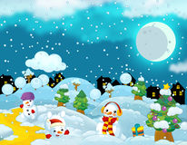 Happy cartoon christmas scene with happy snowmen having fun Royalty Free Stock Photos