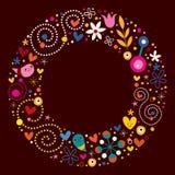 Happy cartoon circle retro frame Royalty Free Stock Photography