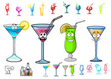 Happy cartoon cocktails with straws characters Stock Image