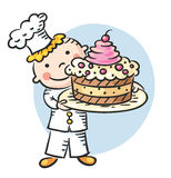 Happy Cartoon Cook with a Cake. Happy cartoon cook holding a dish with a big cake Stock Photos