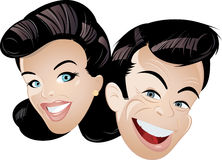 Happy cartoon couple. Portrait of happy young couple with black retro hairstyle, white background Royalty Free Stock Photos