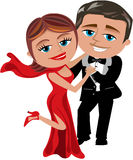 Happy Cartoon Couple Dancing Royalty Free Stock Image