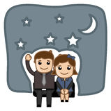 Happy Cartoon Couple in Night Vector Illustration Stock Photography