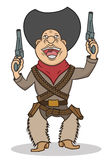 A happy cartoon cowboy with two guns Stock Photography
