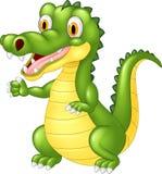 Happy cartoon crocodile waving hand vector illustration