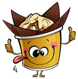 Happy cartoon cupcake muffin character making a perfect gesture. Happy cartoon yellow and brown cupcake muffin character making a perfect gesture sticking out Royalty Free Stock Image