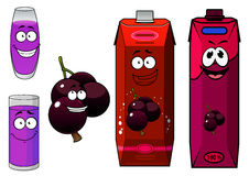 Happy cartoon currant  fruit and juice drinks Royalty Free Stock Photo