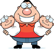 Happy Cartoon Dad with Twins Stock Photos