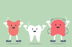 Happy cartoon dental - tooth, tongue and teeth retainer Stock Images
