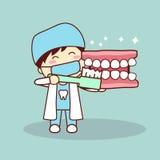 Happy cartoon denture and dentist Stock Image