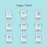 Happy cartoon digital tablet pc. Set, great for your design Stock Image