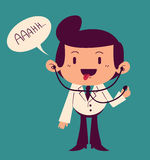 Happy Cartoon Doctor Saying Ahh. Vector illustration of a cartoon happy doctor standing and saying ahh with open mouth and stethoscope in ears Royalty Free Stock Image