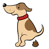 Happy cartoon dog pooping Royalty Free Stock Images