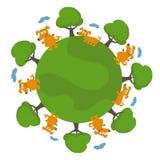 Happy cartoon dogs in earth. Vector illustration Stock Photo