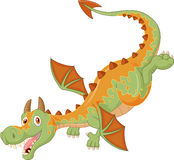 Happy cartoon dragon flying Stock Images