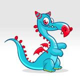 Happy cartoon dragon. Vector illustration of dragon monster with small wings. Royalty Free Stock Image