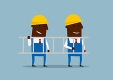 Happy cartoon engineers carrying ladder Royalty Free Stock Photo