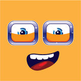 Happy Cartoon Eyes and Mouth with a background vector Royalty Free Stock Photos
