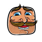 Happy cartoon face with mustaches, vector illustration. Royalty Free Stock Images