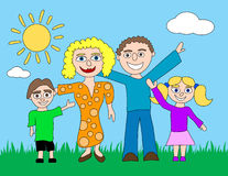 Happy Cartoon Family. A happy cartoon family is standing on grass with a sun and clouds in the background Stock Image