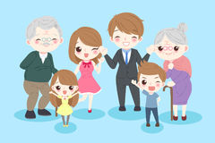 Happy cartoon family. On the blue background Stock Image