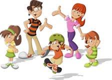 Happy cartoon family Royalty Free Stock Photo
