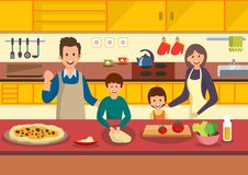 Happy cartoon family cooks pizza in kitchen. stock illustration
