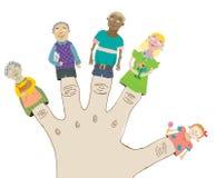 Happy Cartoon Family. Dolls on fingers. illustration Stock Photo