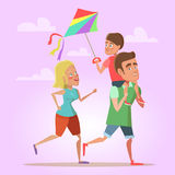 Happy Cartoon Family Father, Mom and Son Flying a Kite. Summer Fun Royalty Free Stock Images
