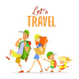 Happy cartoon family going on summer vacation. Stock Photography