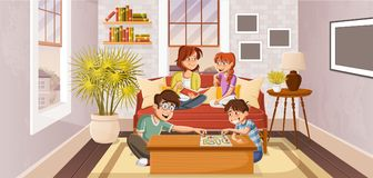 Happy cartoon family. In the living room Royalty Free Stock Photography