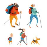 Happy cartoon family hiking together. Stock Photos