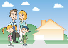 Happy cartoon family and house Stock Images