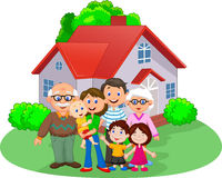 Happy cartoon family Stock Photos