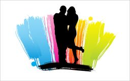 Happy cartoon family. Man and woman silhouettes, Happy cartoon family Royalty Free Stock Photo