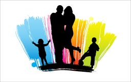 Happy cartoon family. Man and woman silhouettes, Happy cartoon family Stock Photo