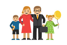 Happy cartoon family. Mom Dad daughter and son are hugging each other Stock Photos