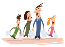 Happy cartoon family shopping Royalty Free Stock Photography