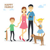 Happy cartoon family mother, father, son, daughter, dog, skate in flat style Stock Photography