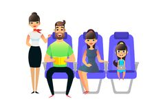 Happy cartoon family travel. Travelling people passengers and on board of the airplane. Man woman ang girl sit in an. Armchair. Father with book, gaughter with vector illustration