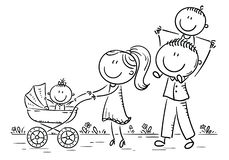 Happy cartoon family with two children walking outdoors, outline stock illustration