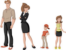 Happy cartoon family. Stock Photo