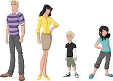 Happy cartoon family. Royalty Free Stock Image