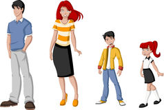 Happy cartoon family. Royalty Free Stock Photo