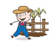 Happy Cartoon Farmer Running in Field royalty free illustration