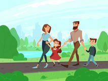 Happy cartoon father, mother, brother and sister at summer park. Young couple with kids walks outdoor, family lifestyle. Happy cartoon father, mother, brother Stock Photo